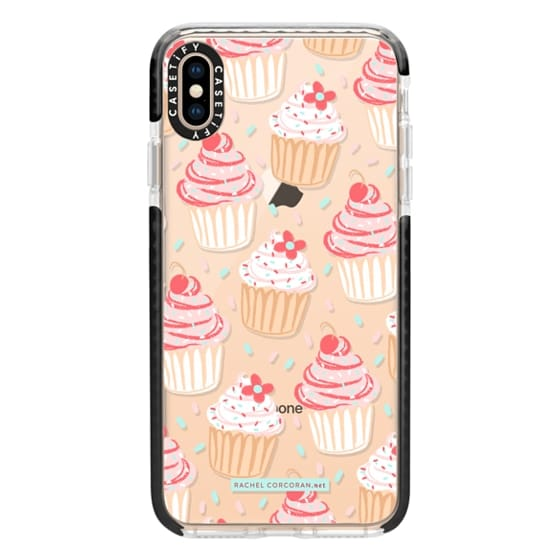 Impact iPhone XS Max Case - Cupcakes Cake Candy Sweet Cherry Baking Food  Dessert Confetti Cute Pink Red Pattern Rachillustrates Rachel Corcoran