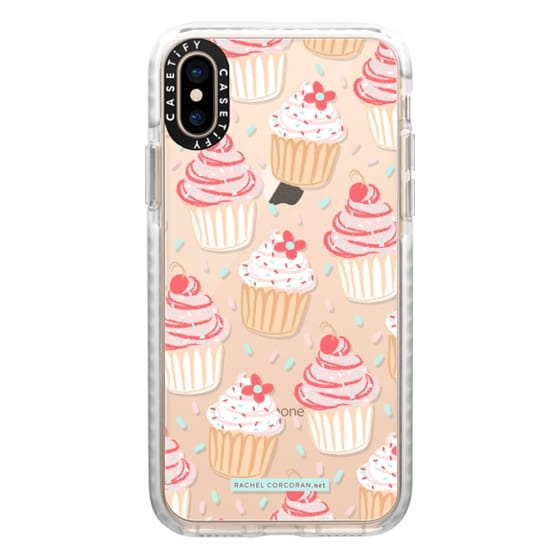 iPhone XS Cases - Cupcakes Cake Candy Sweet Cherry Baking Food Dessert Confetti Cute Pink Red Pattern Rachillustrates Rachel Corcoran
