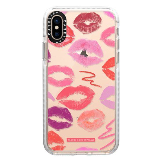iPhone XS Cases - Lipstick Kisses MakeUp MUA Cosmetics Love Romantic Kiss Lips Pink Red Fashion Rachillustrates Rachel Corcoran