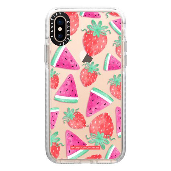 iPhone XS Cases - Watermelon Strawberry Fruit Summer Food Healthy Pattern Rachillustrates Rachel Corcoran