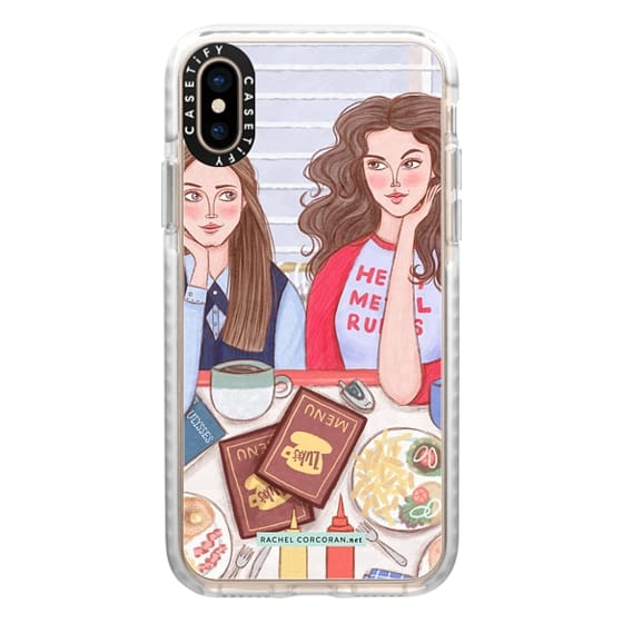 iPhone XS Cases - Gilmore Girls in Lukes Diner - TV Show Food Coffee Illustration by Rachel Corcoran - Rachillustrates