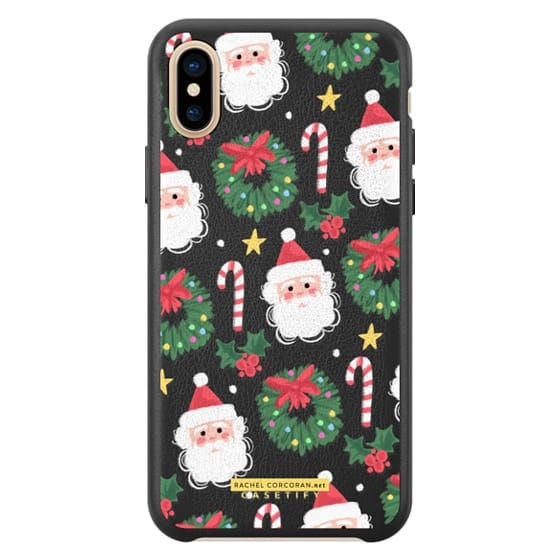 Christmas Santa Clause Holly Candy Cane Happy Holidays Pattern Rachillustrates Rachel Corcoran