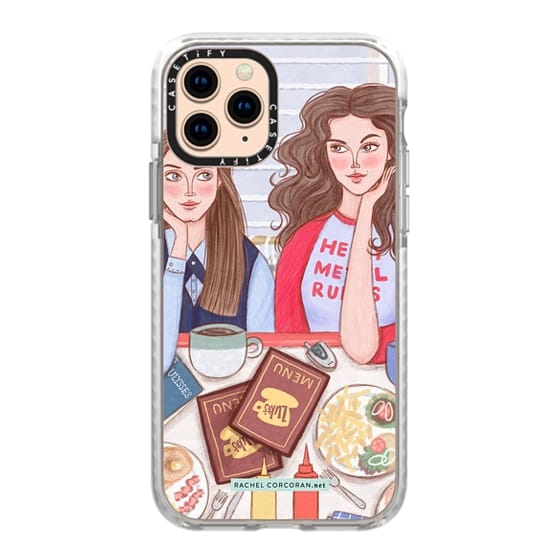 iPhone 11 Pro Cases - Gilmore Girls in Lukes Diner - TV Show Food Coffee Illustration by Rachel Corcoran - Rachillustrates