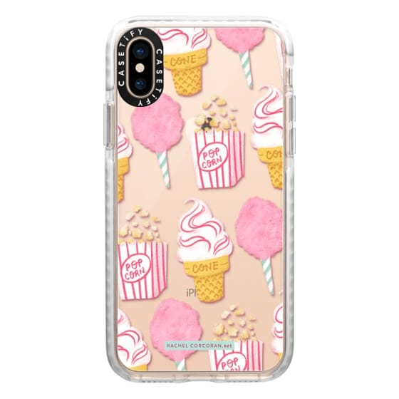 iPhone XS Cases - Cute Summer Ice Cream Popcorn Candy Floss Vintage Fairground Pattern Rachillustrates Rachel Corcoran