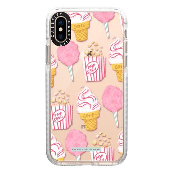 iPhone XS Cases - Cute Summer Ice Cream Popcorn Candy Floss Vintage Fairground Pattern Rachillustrates Rachel Corcoran