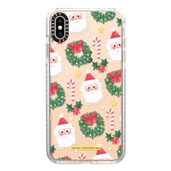 Christmas Phone Case.Iphone Xs Max Impact Christmas Santa Clause Holly Candy Cane Happy Holidays Pattern Rachillustrates Rachel Corcoran
