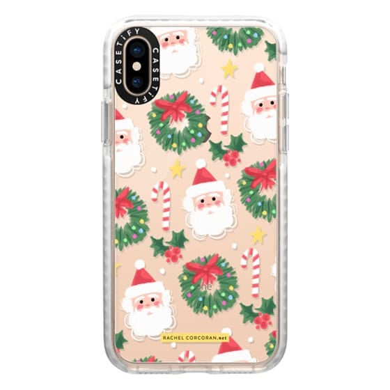 iPhone XS Cases - Christmas Santa Clause Holly Candy Cane Happy Holidays Pattern Rachillustrates Rachel Corcoran
