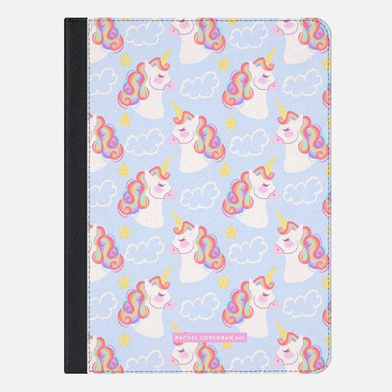 Cute Magical Unicorn Rainbow Girly Colorful Pattern Rachillustrates Rachel Corcoran - iPad Folio Case