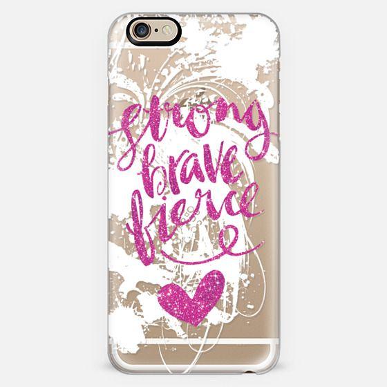 Pink Glitter Strong Brave Fierce -