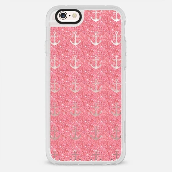 Pink Glitter Anchors - New Standard Case