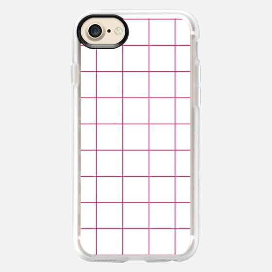 Magenta Hot Pink Square Grid Design - Classic Grip Case