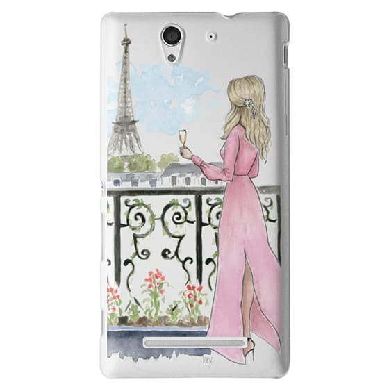 Paris Girl -Blonde- Eiffel Tower- Fashion Illustration- Champagne-
