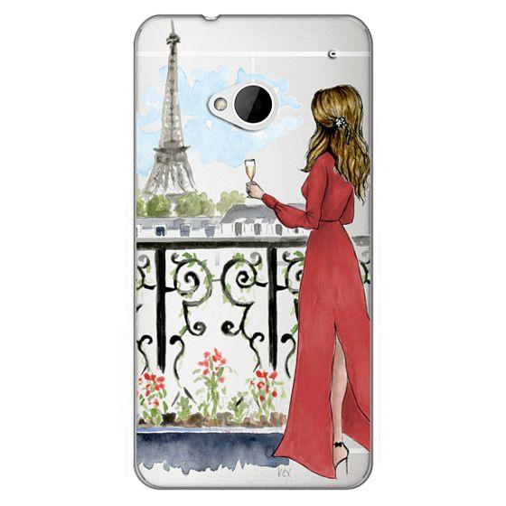 Htc One Cases - Paris Girl Brunette (Eiffel Tower, Fashion Illustration)