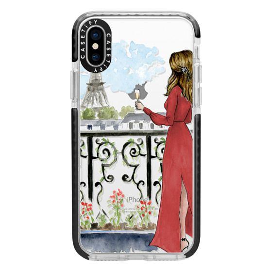 iPhone X Cases - Paris Girl Brunette (Eiffel Tower, Fashion Illustration)