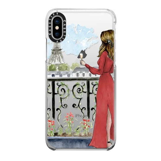 iPhone X Cases - Paris Girl Brunette (Eiffel Tower, Fashion Illustration)