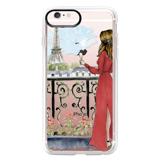 iPhone 6s Plus Cases - Paris Girl Brunette (Eiffel Tower, Fashion Illustration)