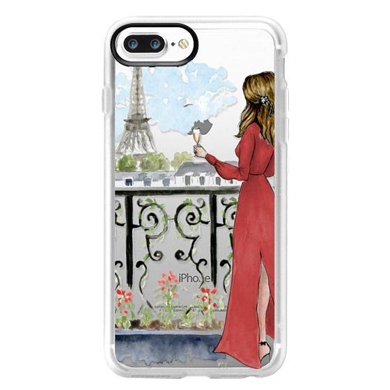 iPhone 7 Plus Cases - Paris Girl Brunette (Eiffel Tower, Fashion Illustration)