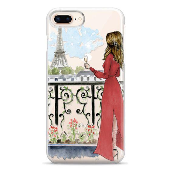 iPhone 8 Plus Cases - Paris Girl Brunette (Eiffel Tower, Fashion Illustration)
