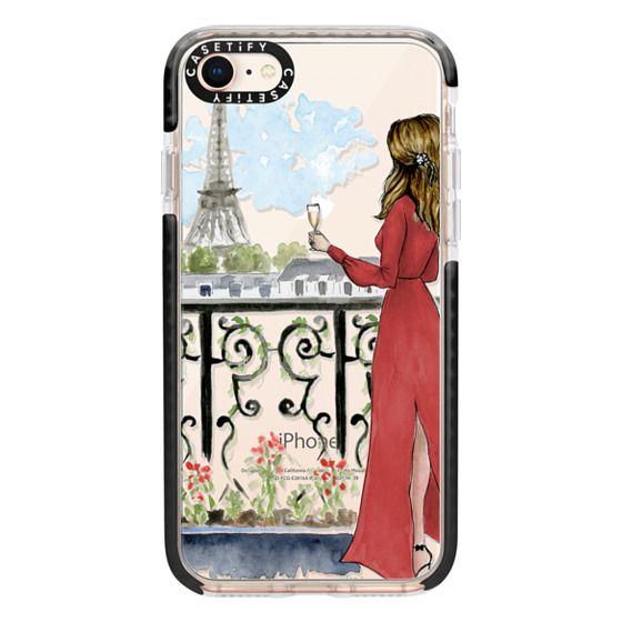 iPhone 8 Cases - Paris Girl Brunette (Eiffel Tower, Fashion Illustration)