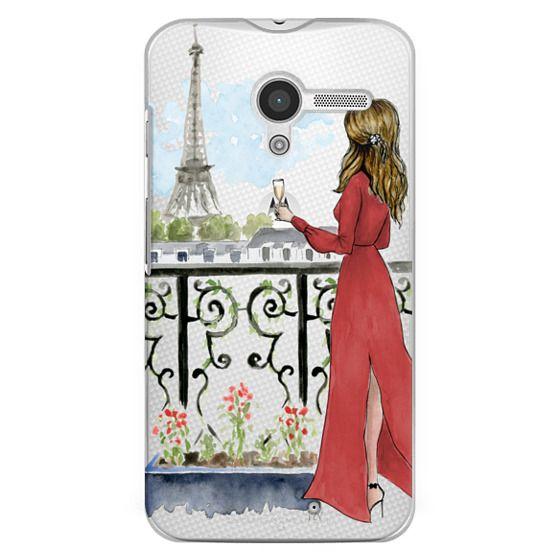 Moto X Cases - Paris Girl Brunette (Eiffel Tower, Fashion Illustration)