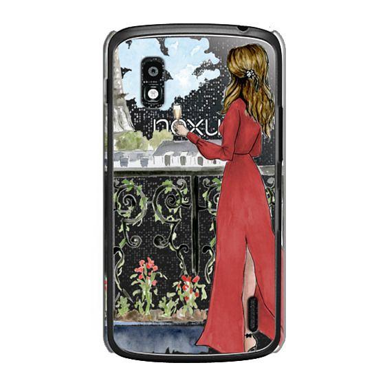 Nexus 4 Cases - Paris Girl Brunette (Eiffel Tower, Fashion Illustration)
