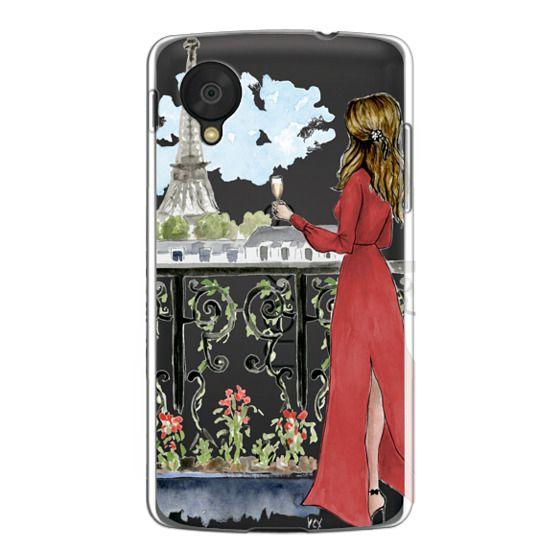 Nexus 5 Cases - Paris Girl Brunette (Eiffel Tower, Fashion Illustration)
