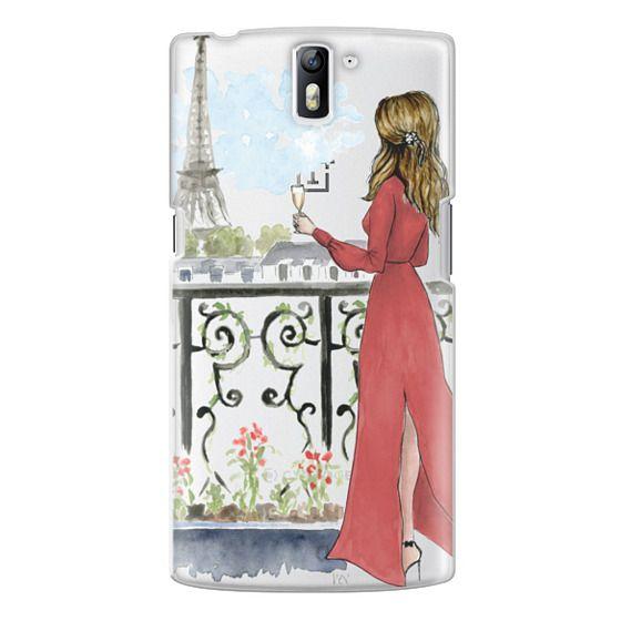 One Plus One Cases - Paris Girl Brunette (Eiffel Tower, Fashion Illustration)