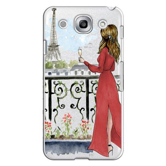 Optimus G Pro Cases - Paris Girl Brunette (Eiffel Tower, Fashion Illustration)