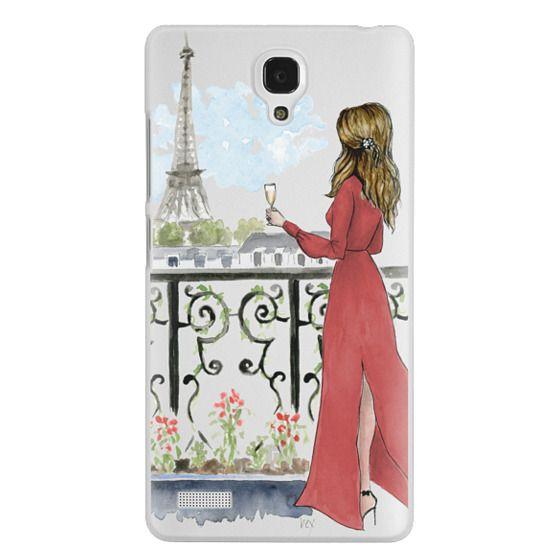 Redmi Note Cases - Paris Girl Brunette (Eiffel Tower, Fashion Illustration)