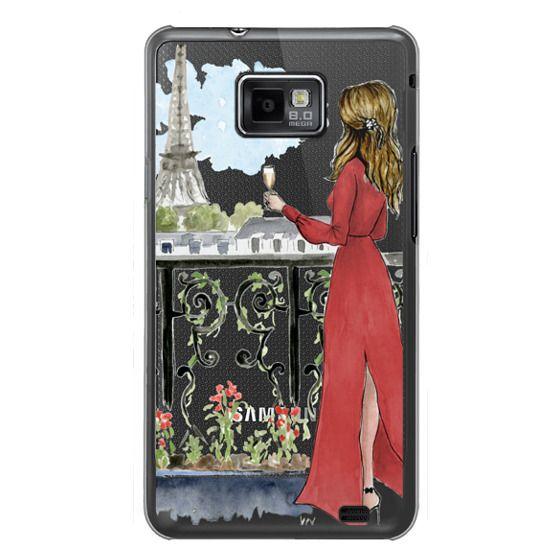 Samsung Galaxy S2 Cases - Paris Girl Brunette (Eiffel Tower, Fashion Illustration)