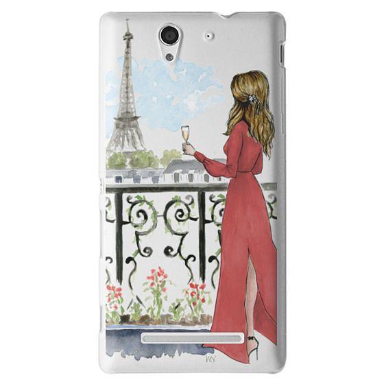 Sony C3 Cases - Paris Girl Brunette (Eiffel Tower, Fashion Illustration)