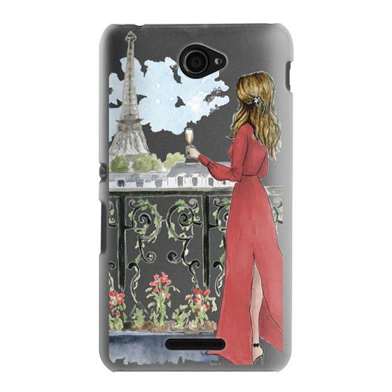 Sony E4 Cases - Paris Girl Brunette (Eiffel Tower, Fashion Illustration)