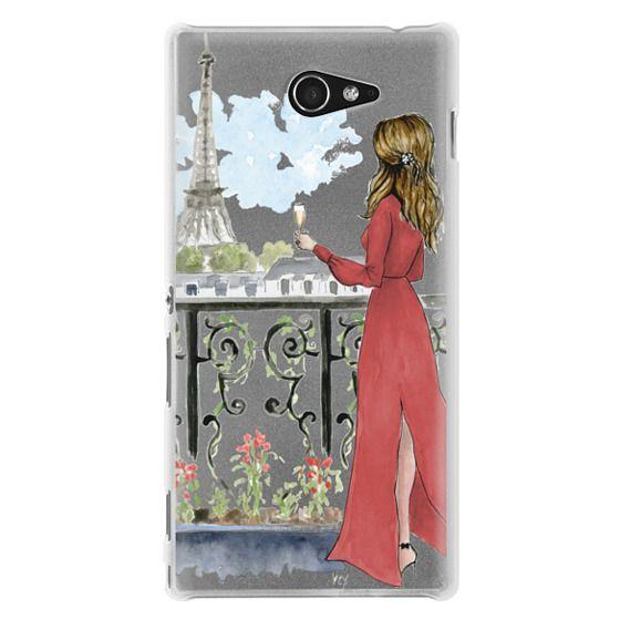 Sony M2 Cases - Paris Girl Brunette (Eiffel Tower, Fashion Illustration)