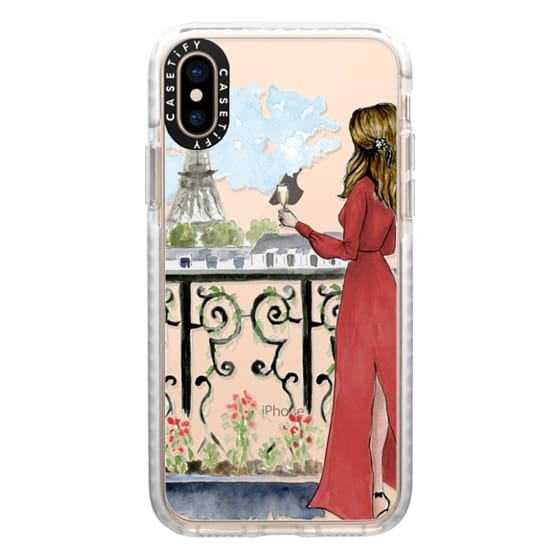 iPhone XS Cases - Paris Girl Brunette (Eiffel Tower, Fashion Illustration)
