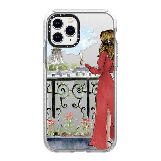 iPhone 11 Pro Cases - Paris Girl Brunette (Eiffel Tower, Fashion Illustration)