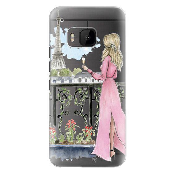 Htc One M9 Cases - Paris Girl -Blonde- Eiffel Tower- Fashion Illustration- Champagne-