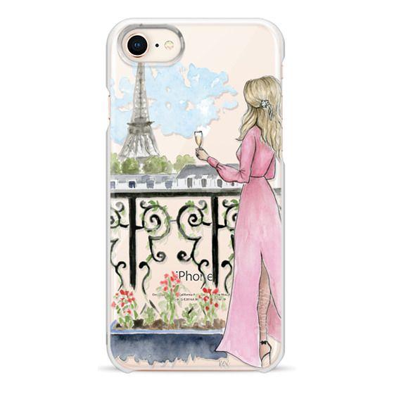 iPhone 8 Cases - Paris Girl -Blonde- Eiffel Tower- Fashion Illustration- Champagne-