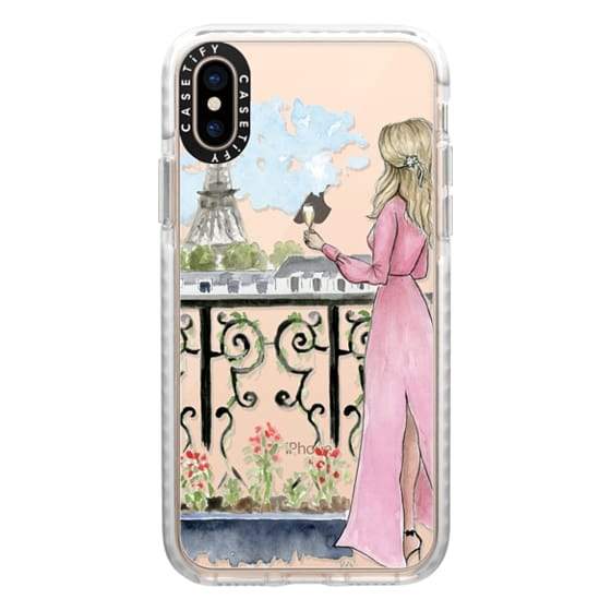 iPhone XS Cases - Paris Girl -Blonde- Eiffel Tower- Fashion Illustration- Champagne-