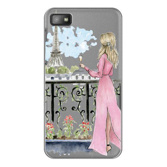 Blackberry Z10 Cases - Paris Girl -Blonde- Eiffel Tower- Fashion Illustration- Champagne-