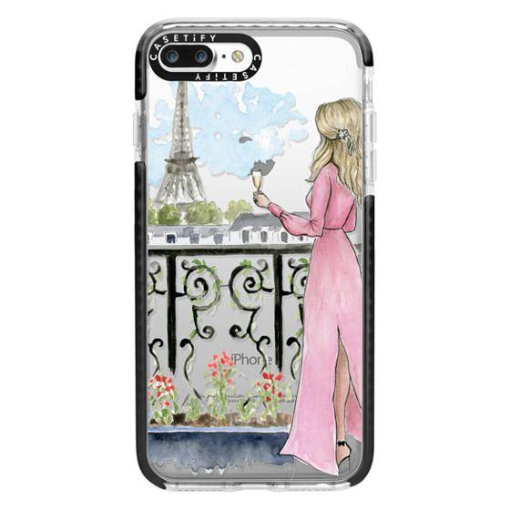 iPhone 7 Plus Cases - Paris Girl -Blonde- Eiffel Tower- Fashion Illustration- Champagne-