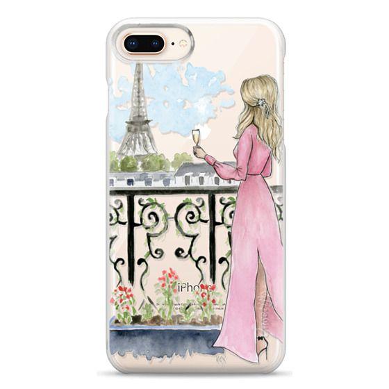 iPhone 8 Plus Cases - Paris Girl -Blonde- Eiffel Tower- Fashion Illustration- Champagne-