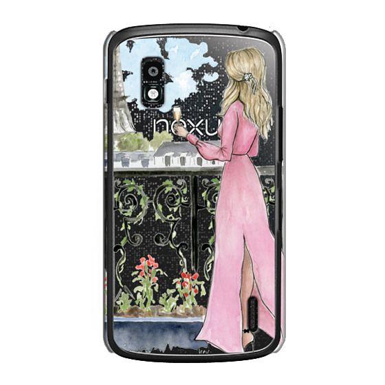 Nexus 4 Cases - Paris Girl -Blonde- Eiffel Tower- Fashion Illustration- Champagne-