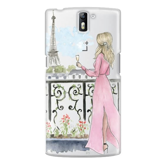One Plus One Cases - Paris Girl -Blonde- Eiffel Tower- Fashion Illustration- Champagne-