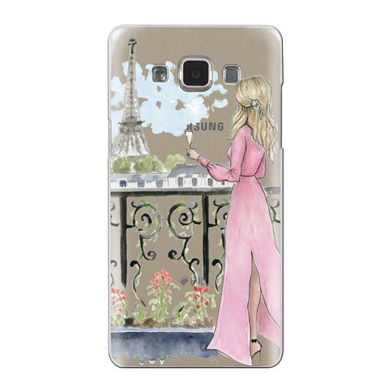 Samsung Galaxy A5 Cases - Paris Girl -Blonde- Eiffel Tower- Fashion Illustration- Champagne-
