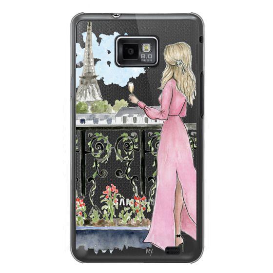 Samsung Galaxy S2 Cases - Paris Girl -Blonde- Eiffel Tower- Fashion Illustration- Champagne-