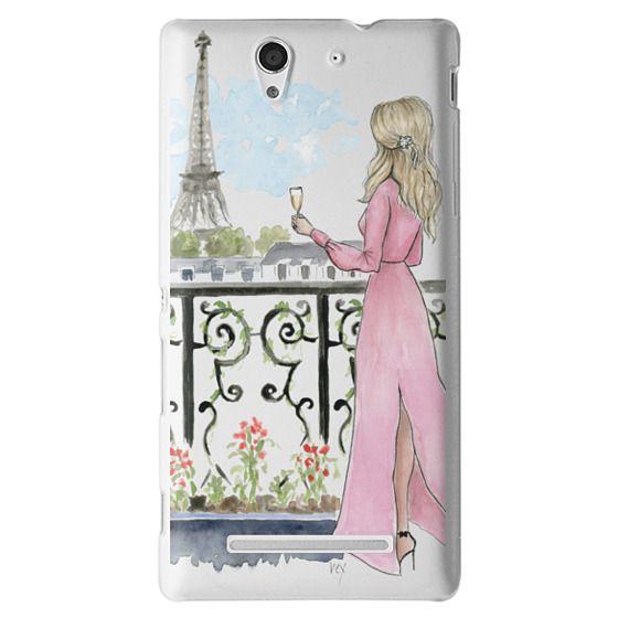 Sony C3 Cases - Paris Girl -Blonde- Eiffel Tower- Fashion Illustration- Champagne-