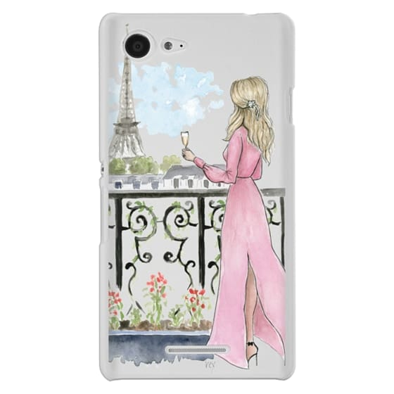 Sony E3 Cases - Paris Girl -Blonde- Eiffel Tower- Fashion Illustration- Champagne-