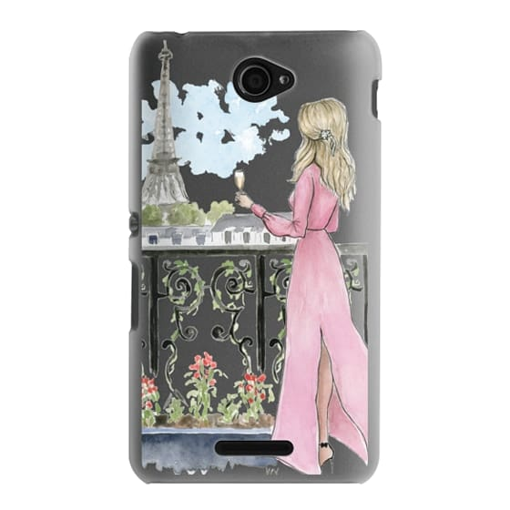 Sony E4 Cases - Paris Girl -Blonde- Eiffel Tower- Fashion Illustration- Champagne-