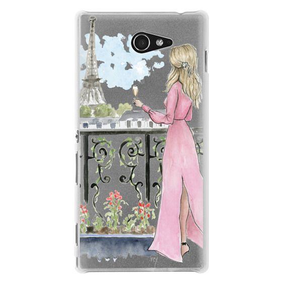 Sony M2 Cases - Paris Girl -Blonde- Eiffel Tower- Fashion Illustration- Champagne-