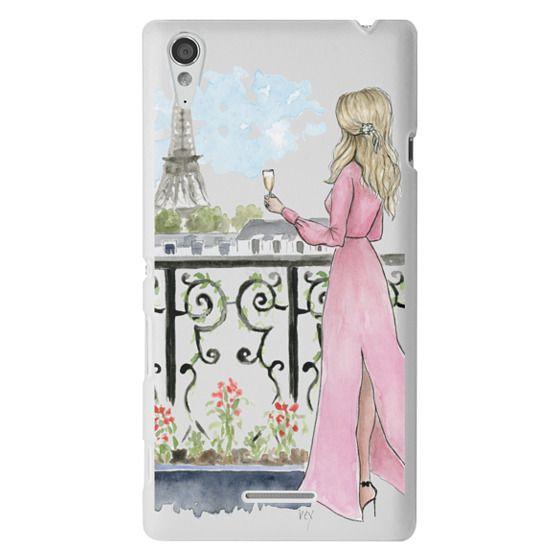 Sony T3 Cases - Paris Girl -Blonde- Eiffel Tower- Fashion Illustration- Champagne-